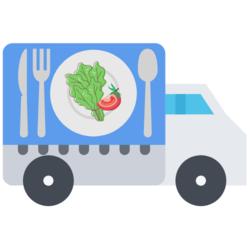 Lieferwagen mit einem Teller und Salat