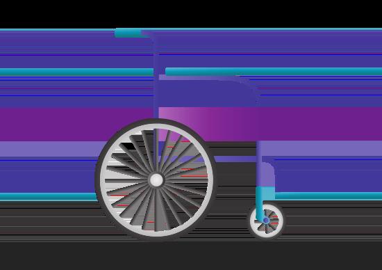 Rollstuhl von der Seite in lila-türkis