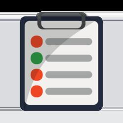Wissen: Liste auf einem Klemmbrett mit roten und grünen Aufzählungspunkten