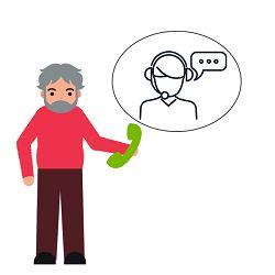 Wissen: Ein Mann hält ein Telefon in der Hand, darüber ein Service-Mitarbeiter