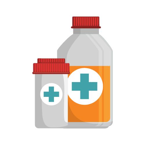 Zwei Flaschen mit Medizin