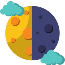 Wissen: Mond mit einer hellen und einer dunklen Seite