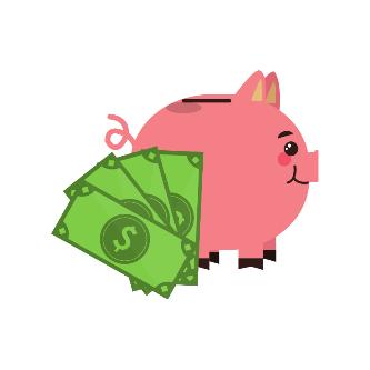 Sparschwein mit Gelscheinen