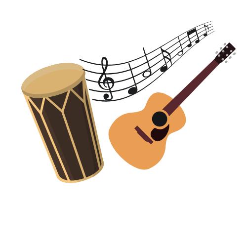 Eine Gitarre und eine Trommel die Musik machen