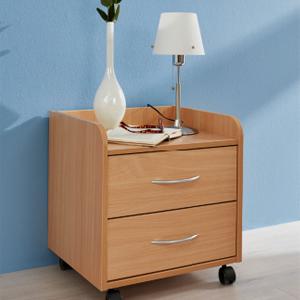 Wissen: Nachttisch mit zwei Schubladen aus Holz