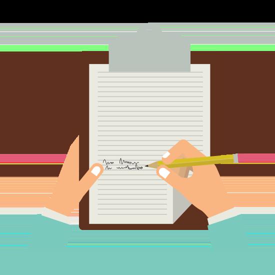Eine Hand schreibt etwas auf einen Zettel auf einem Klemmbrett