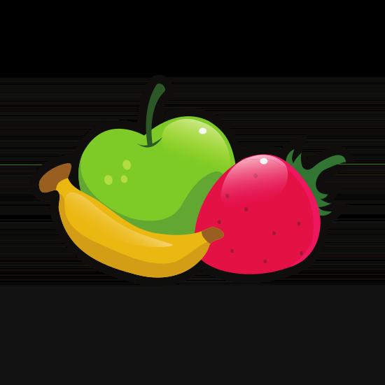Apfel, Erdbeere und Banane