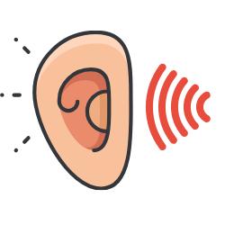 Ohr mit Schallwelle