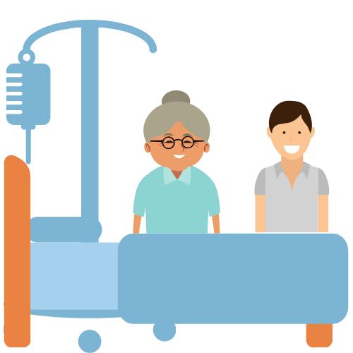 Pflegebett mit Tropf, eine ältere Dame und ein jüngerer Mann stehen dahinter