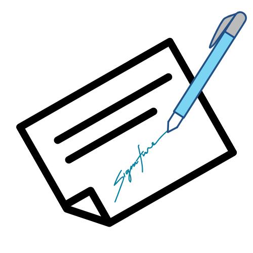 Rezept mit Unterschrift auf weißen Grund mit blauem Stift