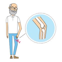 Mann mit schmerzendem Knie