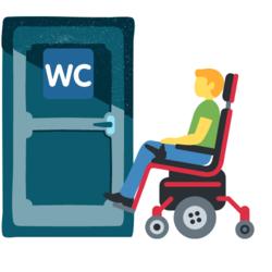 Rollstuhlfahrer und eine Tür mit WC