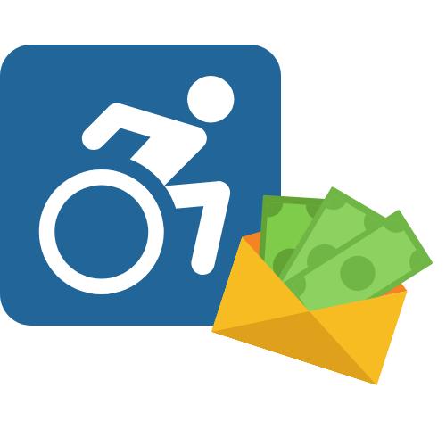 Ein Schild mit einem Rollstuhlfahrer und ein Umschlag mit drei Geldscheinen