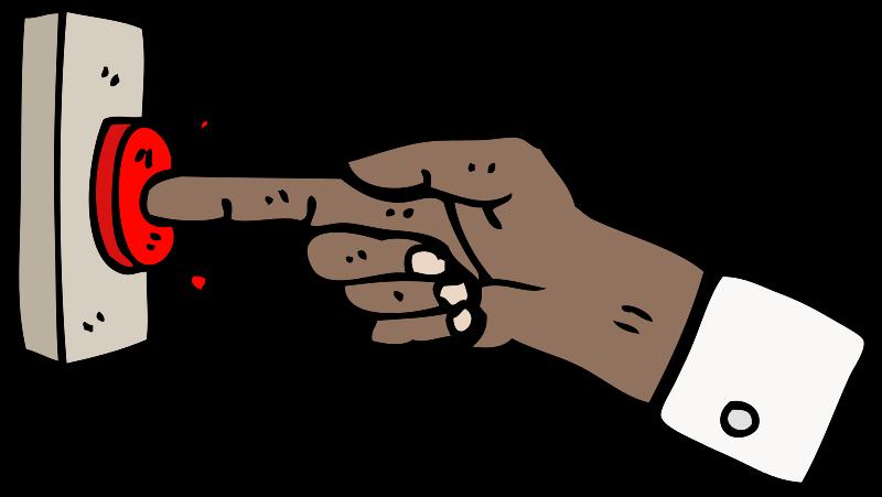 Hand drückt auf roten Knopf