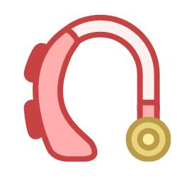 Rotes Hörgerät
