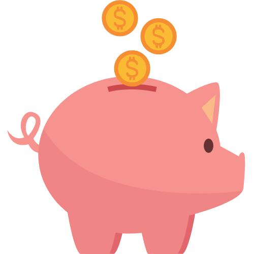 Ein Sparschwein in das Münzen fallen