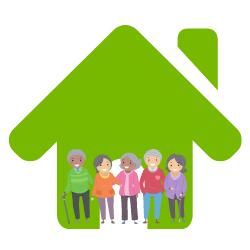Wissen: Glückliche Senioren stehen in einem grünen Haus