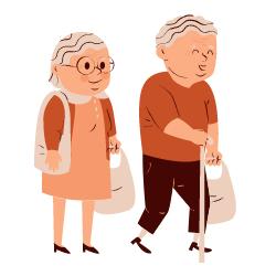 Junges und älteres Paar nebeneinander