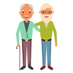 Ein älteres Paar das winkt