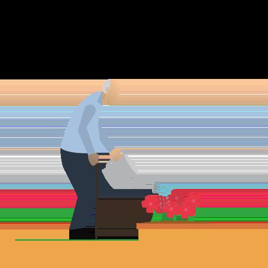 Senior der Blumen gießt.