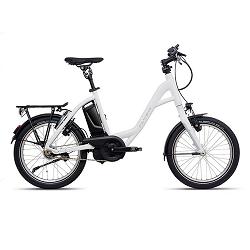 Weißes Fahrrad mit schwarzen Pedalen
