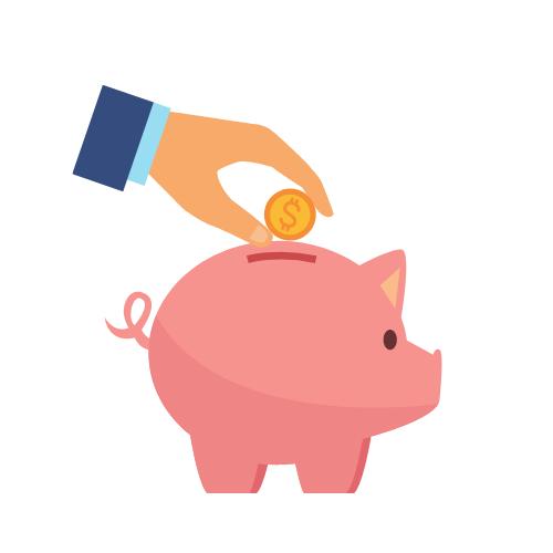 ein rosa Sparschwein, in das Geld gesteckt wird