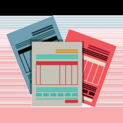 Wissen: Dokumente in verschiedenen Farben