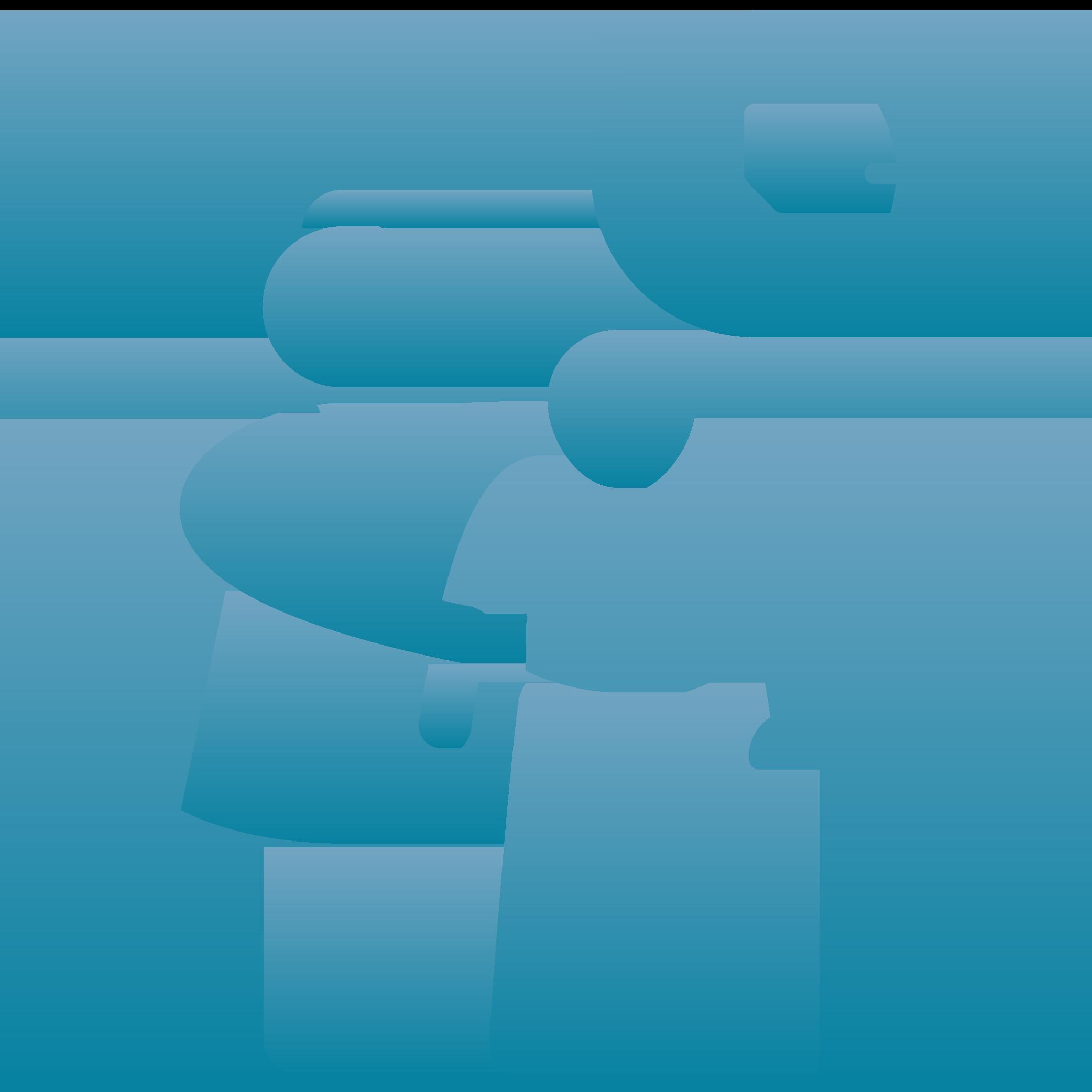 Frau stützt Mann mit Gehstock, über ihnen befindet sich eine Uhr.