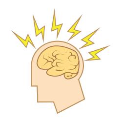 Kopf mit gelben Blitzen stellen Symptome von Migräne da