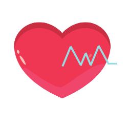 Herz mit EKG Zeichen darin