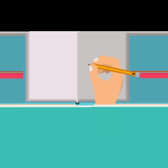 Eine Hand schreibt in ein Buch