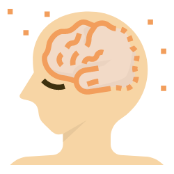 Kopf, wo man Demenz erkennen kann