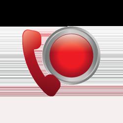 Rotes Telefon und roter Knopf im Hintergrund.