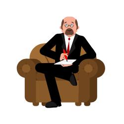 Ein Mann sitzt auf einem Sessel und macht sich Notizen