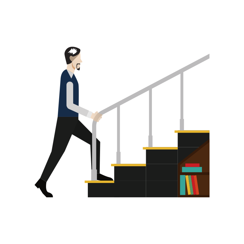 Mann steigt eine Treppe hoch