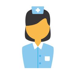 Krankenschwester in blauer Kleidung mit Haube