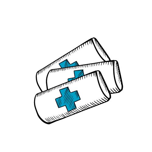 mehrere Verbände mit einem blauen Kreuz
