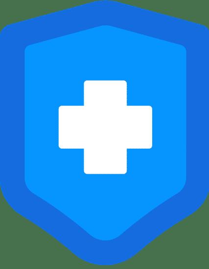 Blaues Schild mit weißem Kreuz in der Mitte