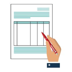 Hand mit Stift füllt Dokument aus