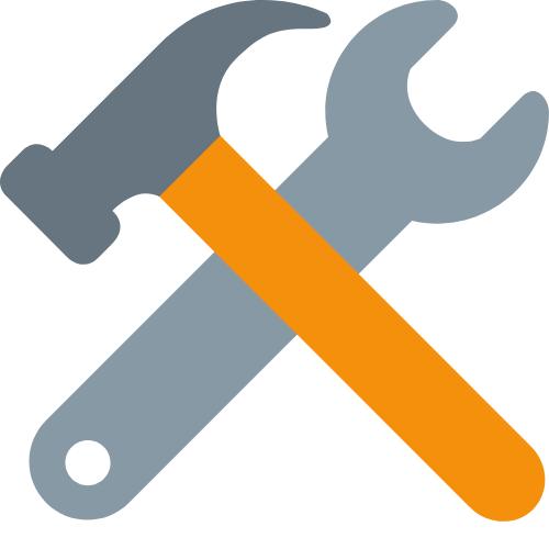 Ein Hammer und ein Schraubendreher gekreuzt