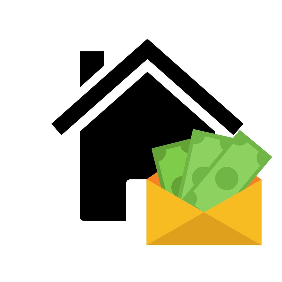 Schwarzes Haus und Umschlag mit Geld darin