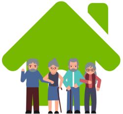 Wissen: Grünes Haus mit zwei älteren Pärchen davor