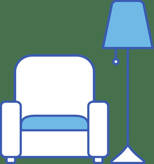 Sessel und Stehlampe