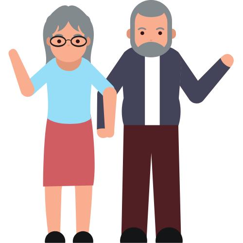 Zwei Senioren die winken