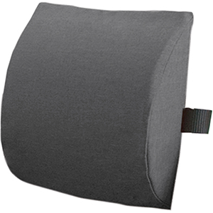 Ein graues Lendenwirbelstützkissen mit einem schwarzen Henkel vor einem weißen Hintergrund.