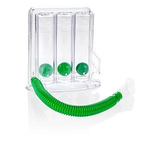 Ein grüner Lungentrainer vor einem weißen Hintergrund.