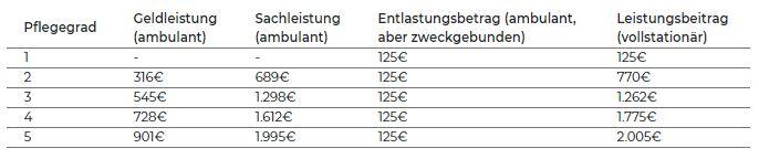 Leistungen der einzelnen Pflegegrade in Tabellenform