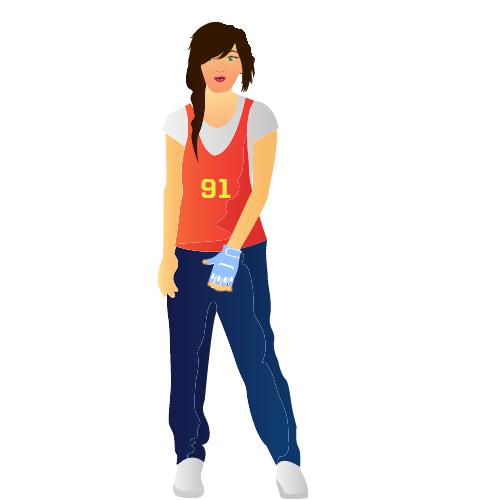 eine junge, sportliche Frau mit dunklen Haaren und oragenen Shirt nutzt eine blaue Orthese an der linken Hand