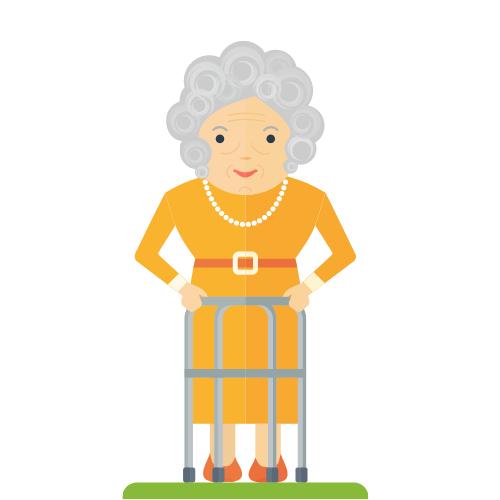 alte Dame im gelben Kleid ist mit Rollator draußen