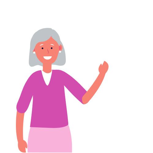 eine ältere weiße Frau in pinken Oberteil winkt